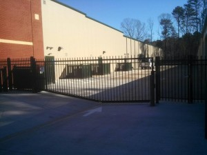 Vertical pivot gate opener installed at Ample Storage self storage on Lake Wheeler Road in Raleigh NC